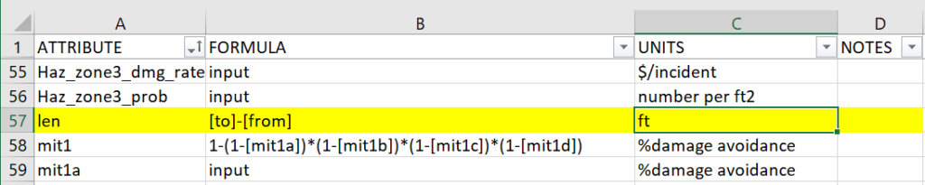 len Attribute with Units in Formulas