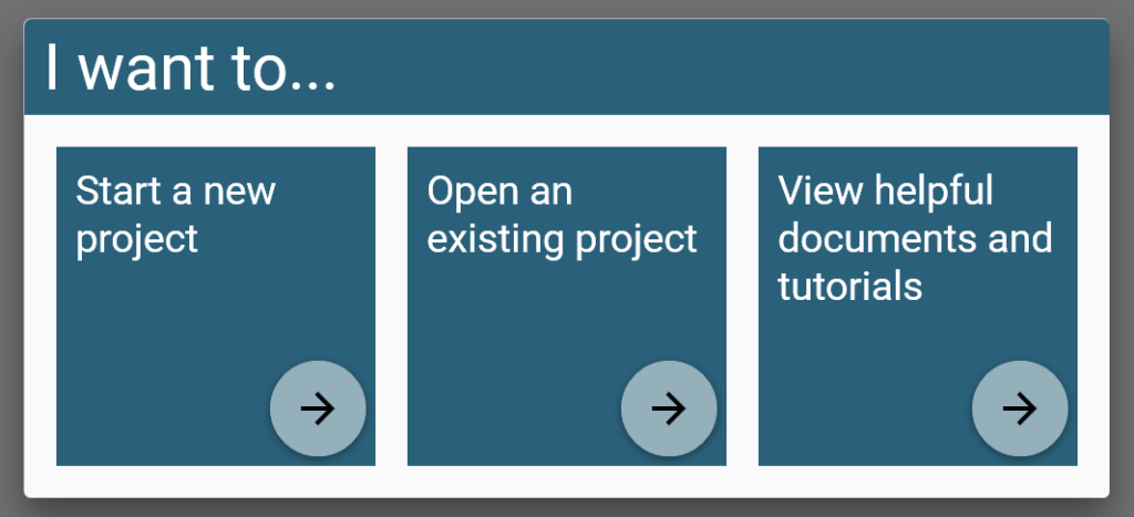 The starting window for the application, I Want To...